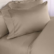 TAUPE Queen size Plain - Solid Bed Sheet Set - 600 Thread 100% Egyptian Cotton [Fitted Sheet + Flat Sheet + 2 pillowcases]