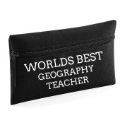 World's Best Geography Teacher Pencil Case Make Up Toiletry Bag