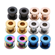 "PiercingJ 12pcs 12G-3/4""(2MM-20MM) Stainless Steel Silver Black Golden Blue Colourful Rose Gold Screw Flesh Tunnels Tunnel Plug Gauge Ear Expanders Stretchers"