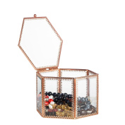 NCYP Vintage Faceted Hexagonal Prisms Mirrored Brass Glass Box Jewellery Display with Hinged Top Lid Display Terrarium Case