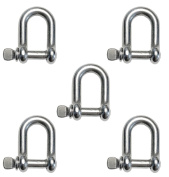 "5 Pieces Stainless Steel 316 D Shackle 5/32"" (4mm) Marine Grade Dee"