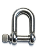 "Stainless Steel 316 D Shackle 5/32"" (4mm) Marine Grade"