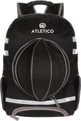 Atletico Soccer Backpack with Ball Compartment/Holder | Gym Bag Holds Cleats/Shoes, Sports Gear, & Soccer or Volleyball in Ball Compartment | Includes Safety Reflectors for Greater Visibility