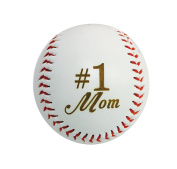 Number One #1 MOM Laser Engraved Synthetic Leather Baseball Gift - Mother's Day, Birthday, Anniversary Present