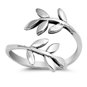 Lilu Jewels Sterling Silver 925 Wraparound Leaf Toe, Midi and Pinky Ring