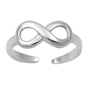 Lilu Jewels Genuine Platinum Over 925 Sterling Silver Women's / Girl's Adjustable Infinity Toe Ring