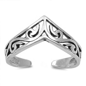 Lilu Jewels Solid Sterling Silver 925 Adjustable Stacking Midi Ring Toe Knuckle Top Finger