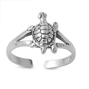 Lilu Jewels 925 Sterling Silver Turtle Tortoise Toe Ring Great Ring for Small Fingers