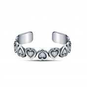 Silvernshine Jewels 925 Silver RD White Sim Diamond New Heart Design Beautiful Adjustable Toe Ring