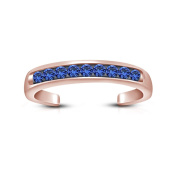 Silvernshine Jewels 14K Rose Gold Finish .925 Silver Blue Sapphire Channel- Set Adjustable Toe Ring
