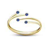 Silvernshine Jewels RD Blue Sapphire 14K Gold Finish in 925 Silver Adjustable Bypass Toe Ring