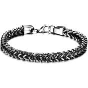 LZHM Men Personality Herringbone Chain Plated 18K Gold Titanium Steel Bracelet