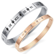 LZHM Couple Fashion Roman Numerals Stainless Steel Zircon Mosaic Gold-plated Bracelet The Project Contains Two
