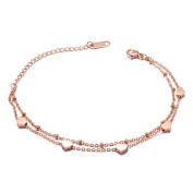 SG Women Rose Gold Stainless Steel Cross Chain Heart Charm Double Bracelet with Extender Chain