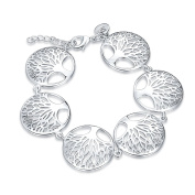 Joielavie Jewellery Bracelet Bangle Round Piece Hollow Tree Of Life Adjustable Silver Plated Charm Birthday Christmas Wristlet Hand Chain Gift For Girls Lady Women