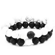 Belons 2PCs Stretch Bracelet 8mm White Howlite Black Lava Stone Beads Buddha Bracelet Distance Bracelets