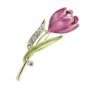 CHIC*MALL High-Grade Diamonds Tulip Brooch Flower Lady Professional Wear Chest Brooch