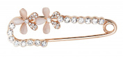 Maikun Safety Pin Brooch Two Pink Artificial Opal Flowers Sweater Pin
