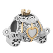 Uniqueen Princess Cinderella Horse and Carriage with Crystal Charm Beads fit European Bracelet