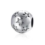 HMILYDYK 925 Sterling Silver Element Crystal Star Pave Round Bead Charms fit Pandora Charm Bracelet
