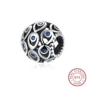 HMILYDYK Genuine Solid 925 Sterling Silver Teardrop CZ Crystal Charms Bead Fit Pandora Charm Bracelets