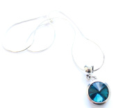 Liberty Charms 'December Birthstone' Sterling Silver Necklace with Silver Plated 18mm Pendant