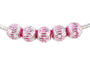 5 X Pink Aluminium Lantern 'String the Bling' European Charm Beads with FREE UK SHIPPING, Compatible with well known makes of Charm Bracelets and Charm Necklaces