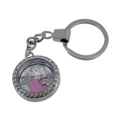 Birthday Gift Keyring With Floating Charm Set and Silver 16 18 21 30 40 50 Age Charm