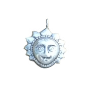 4 Karen Hill Tribe Silver Sun Charms, Higher Silver Content than Sterling Silver, 925 Silver