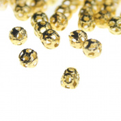 . 1 Set(100Pcs) Gold Plated Filligree Hollow Ball Spacer Metal Beads 4mm For Jewellery Making-Gold