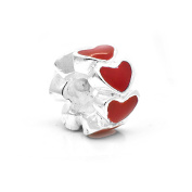 Red Love Charm Bead Spacer 925 Sterling Silver Fits Pandora Charm Bracelet