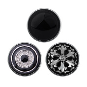 Quiges - 18mm Snap Button Chunk 3pcs Set Black Winter