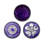 Quiges - 18mm Snap Button Chunk 3pcs Set Violet Symbols
