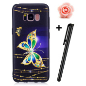Galaxy S8 Plus Case,Samsung Galaxy S8 Plus Matte Cover,TOYYM Ultra Slim 3D Animal Flower Pattern Design Anti-Scratch Shockproof Silicone Soft TPU Bumper Case Matte Black Gel Rubber Protective Back Case Cover Skin for Samsung Galaxy S8 Plus-Gold Butterfly