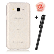 Samsung Galaxy J7 Case,Samsung Galaxy J7 Cover,TOYYM [Slim Fit] Clear Soft Flexible Silicone TPU Rubber Gel Case Cover with White FLower Pattern Design,[Scratch Resistant] Transparent Protective Bumper Backcover Skin for Samsung Galaxy J7 2015(White FL ..