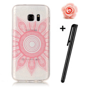 Samsung Galaxy S7 Case(Not for S7 Edge),Samsung Galaxy S7 Cover,TOYYM [Slim Fit] Clear Soft Flexible Silicone TPU Rubber Gel Case Cover with Pink Flower Pattern Design,[Scratch Resistant] Transparent Protective Bumper Backcover Skin for Samsung Galaxy ..