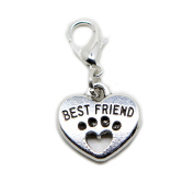 Best Friend Heart Paw Print silver tone charms Pendant for locket necklace and bracelet