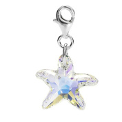 Sterling Silver Element AB Crystal Starfish Clip on Charm for Charm Bracelets