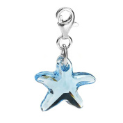 Sterling Silver Element Aqua Crystal Starfish Clip on Charm for Charm Bracelets