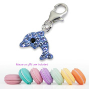 CuteCachoo - Mini macaron gift box included! Kids women's dolphin charm with lobster clip and blue crystals. Quality sterling silver jewellery,