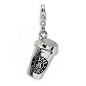 Coffee cup Tea Mug clip on loster clasp Charms silver tone meaning charms for floating necklace and chain bracelet