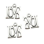 6pcs 15*13mm antique silver love charms