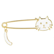 Cosanter Brooch Pins Lovely Crystal Plating Cat Design Scarves Shawl Clips for Girls Women