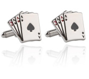 Cosanter Stud Cufflinks Fashion Silver Poker Cards Design Cufflink for Wedding Office Party 1 pair