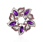 Cosanter Unisex Brooches Pins Elegant Noble Hollow Rhinestone Round Flower Purple Wedding Breast Pin