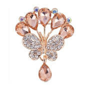 Cosanter Brooches Pins Elegant Hollow Rhinestone Butterfly Designed Brooch for Wedding Party Khaki