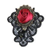 Cosanter Brooches Pins Elegant Hollow Handmade Lace Designed Rose Flower Brooch Pin for Wedding Prom