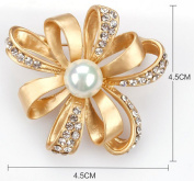 Cosanter Brooches Pins Elegant Hollow Rhinestone Gold Flower Designed Brooch Pin for Wedding Prom