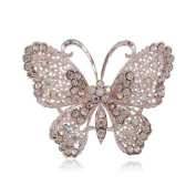 Cosanter Brooches Pins Elegant Hollow Rhinestone Lovely Butterfly Designed Brooch for Wedding Prom