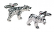 Polar Bear Cufflinks in a silver finish